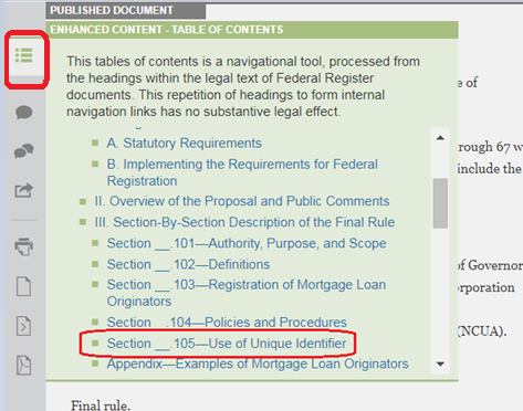screen shot of an interactive table of contents in the Federal Register