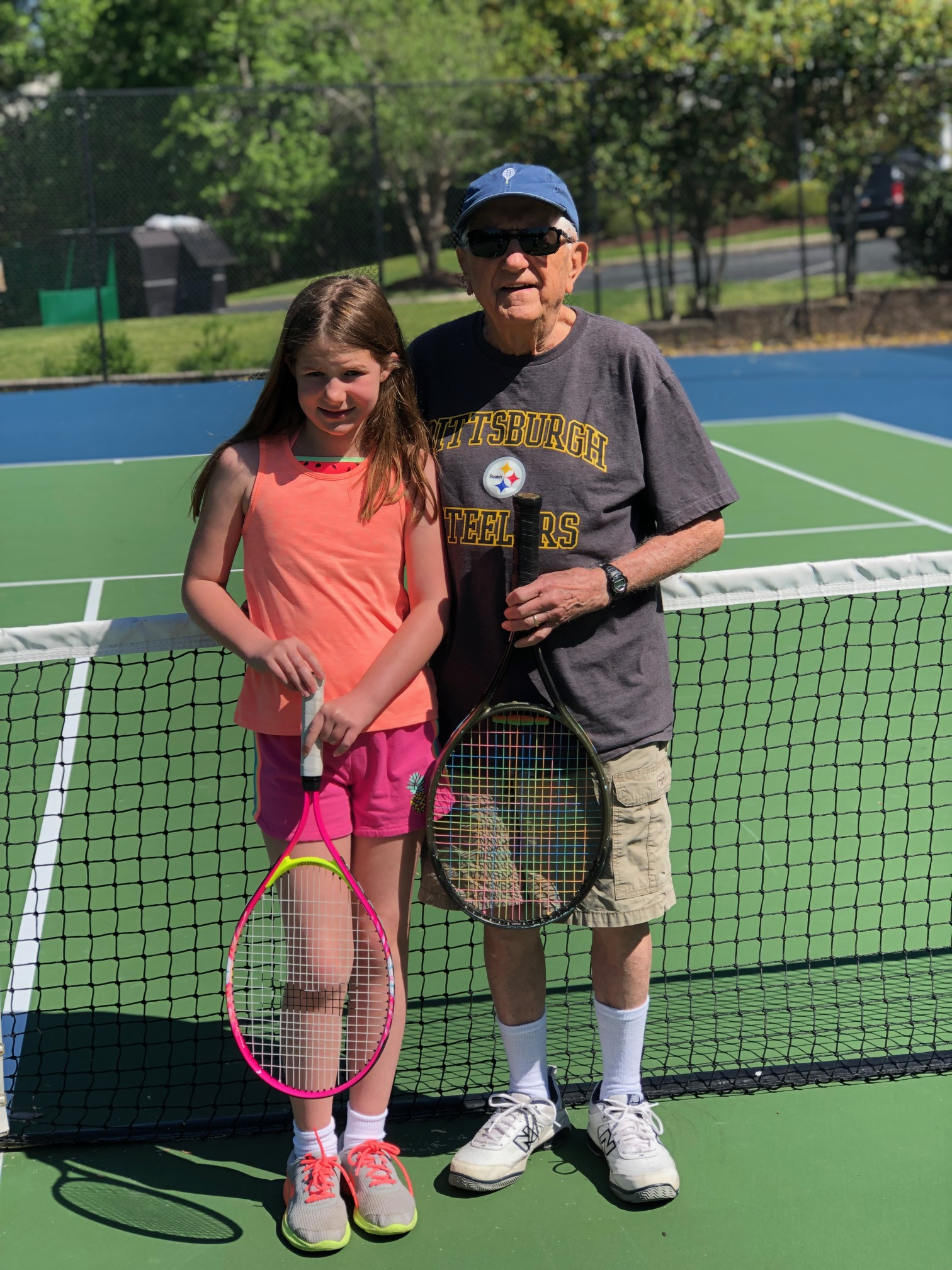 Grandpa and Kate playing tennis