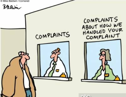 "Man approaches a complaint window and notices another window which says ""complaints about how we handled your complaint."""