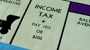 "Picture of ""Monopoly"" board game which reads: Income Tax, Pay 10% or 200 dollars."